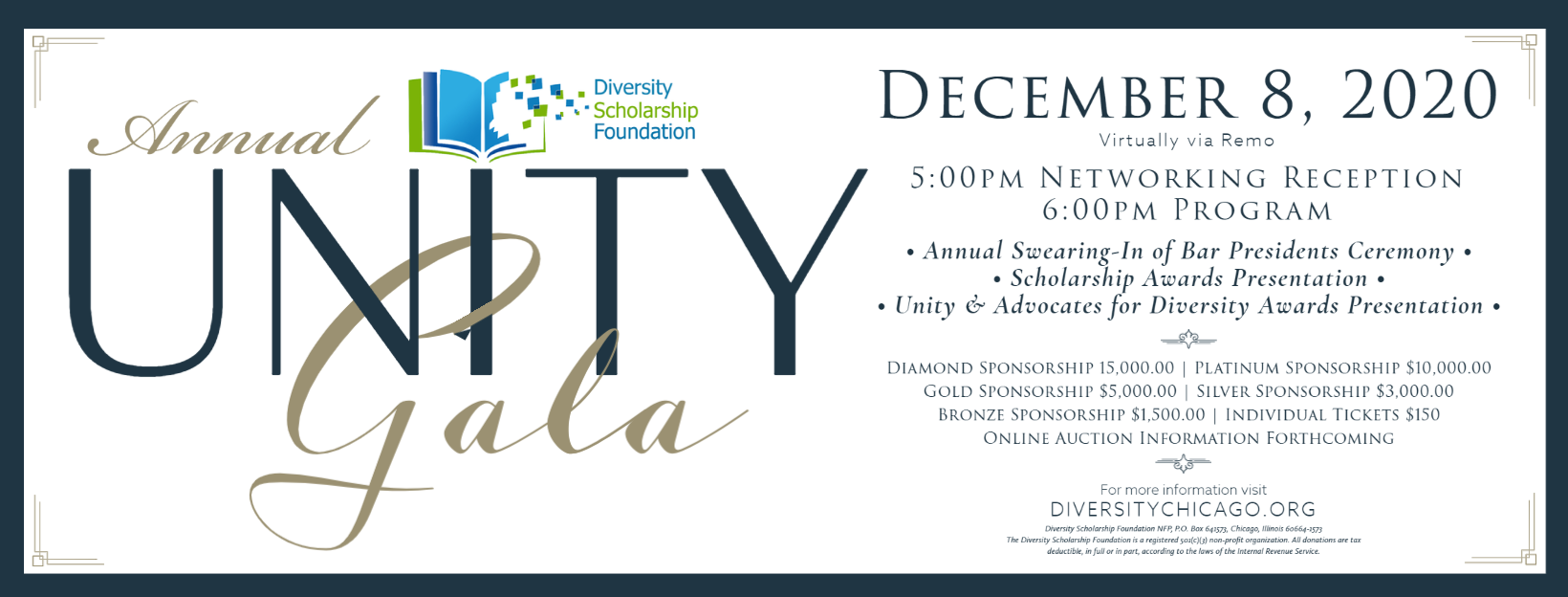 Join us at the Unity Gala on December 8, 2020!